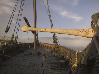 "On the deck of ""Lofotr"" a full size reconstruction of the ""Gokstad"" Viking ship."