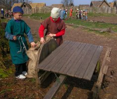 Collecting firewood outside the Viking village