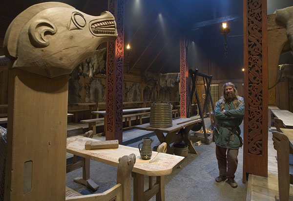 The Banqueting hall at Lofotr Viking Museum