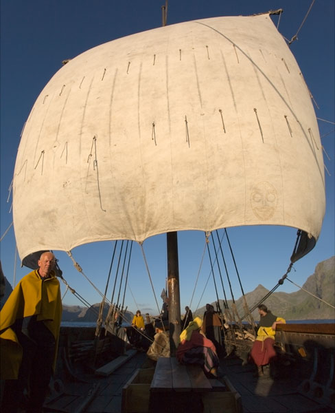 Viking Longship in full sail.